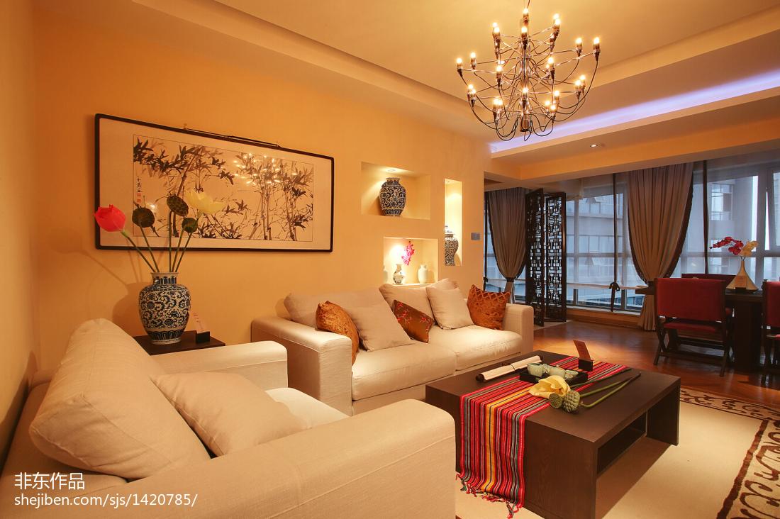新中式样板房客厅背景墙装修效果图大全