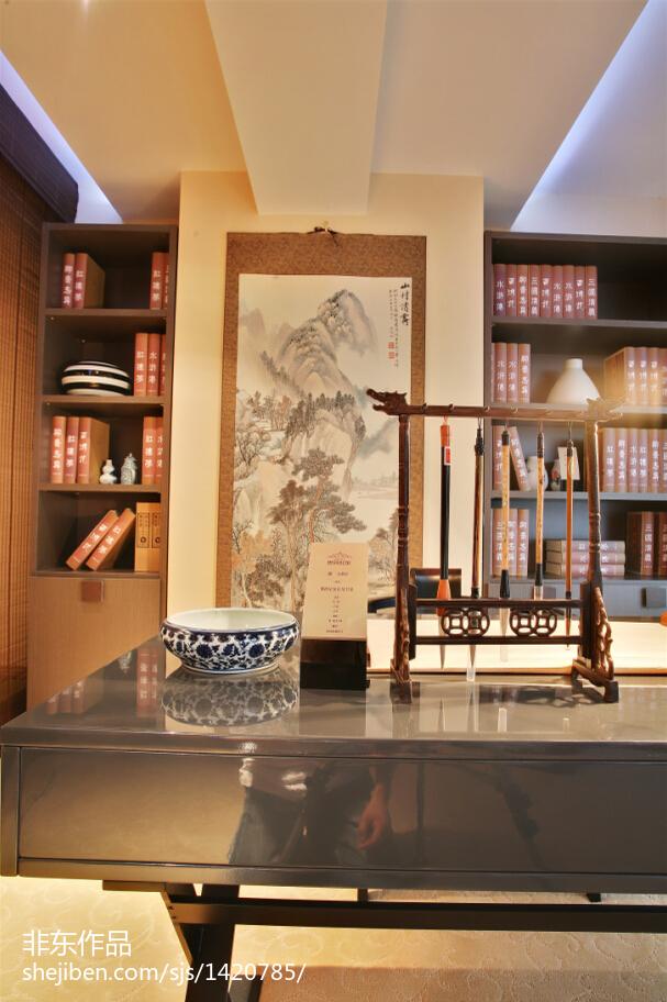 新中式样板房书房吊顶装修图