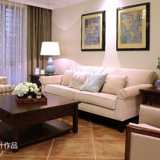2018面积118平复式客厅美式装修实景图