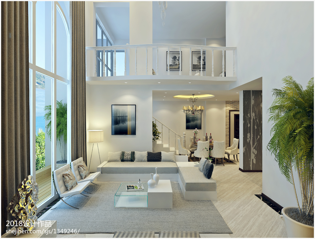 面积111平复式客厅现代装修设计效果图片大全