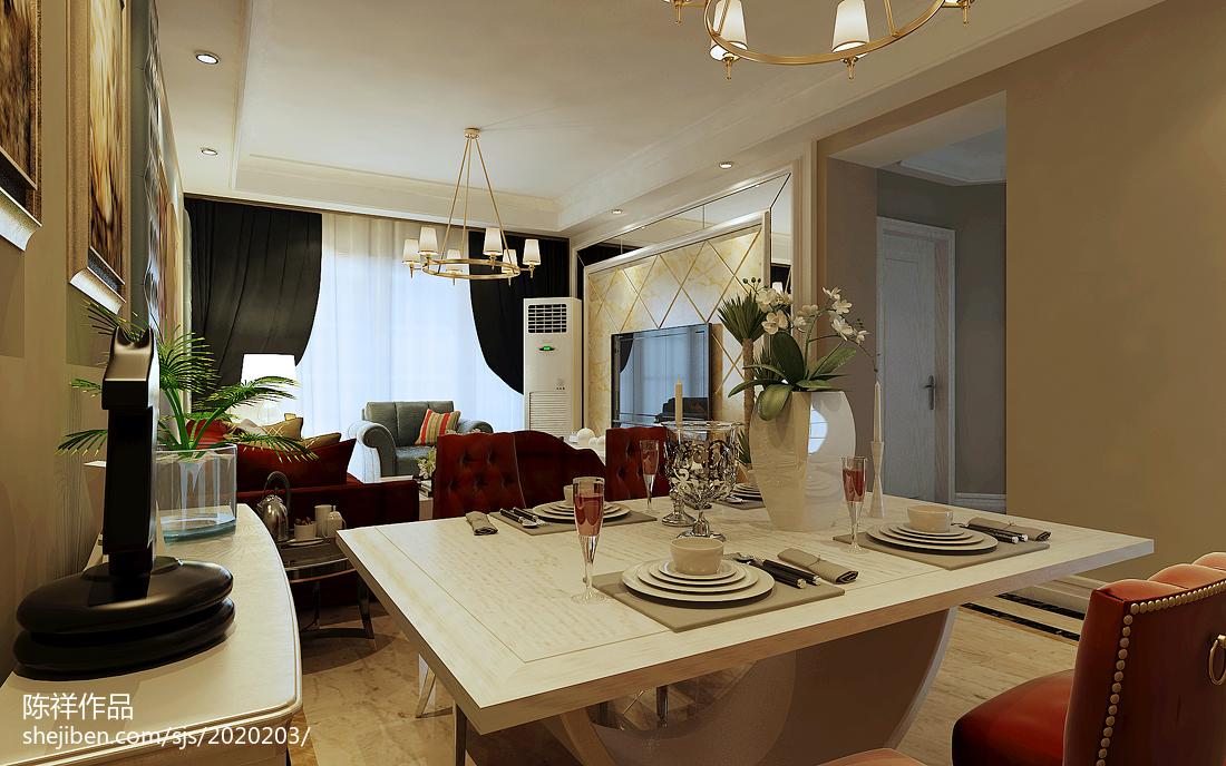 最火面积77平美式二居客厅装修图片