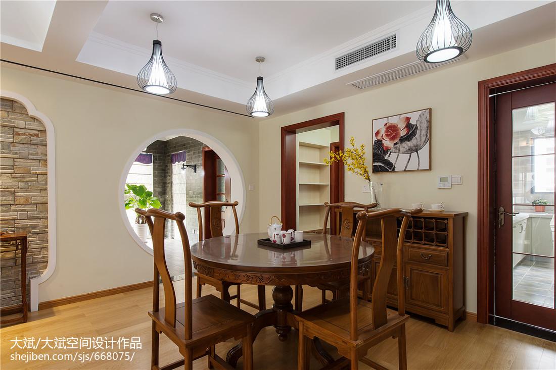 热门面积93平中式三居餐厅装修效果图片