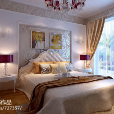热门面积107平欧式三居卧室装饰图片大全