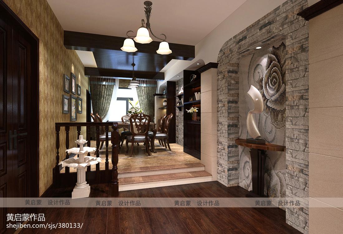 最热94平方三居餐厅美式实景图