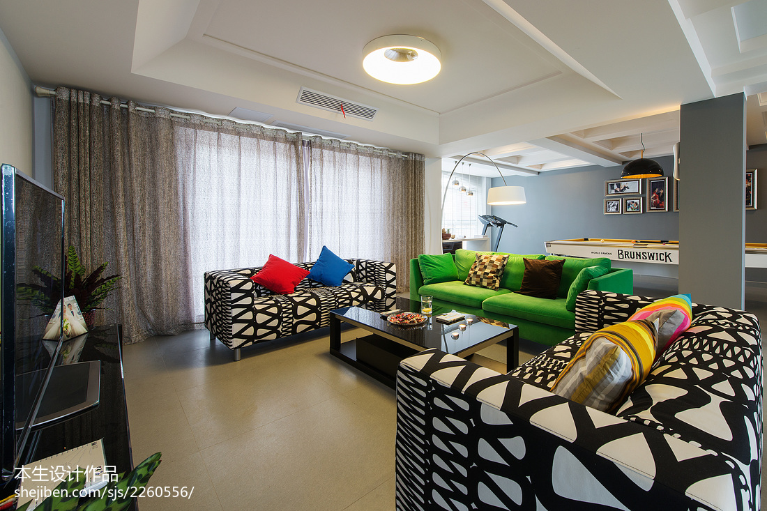2018114平米现代复式客厅装修实景图片欣赏