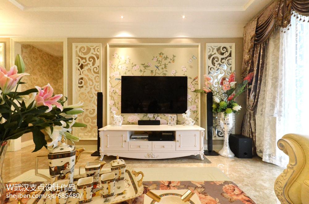 欧式壁纸电视墙装修效果图图集