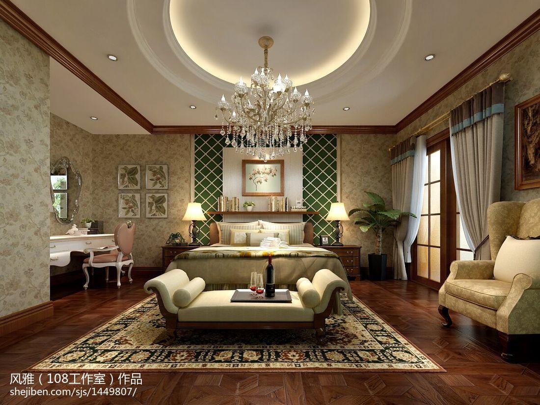 最火面积123平复式卧室美式效果图