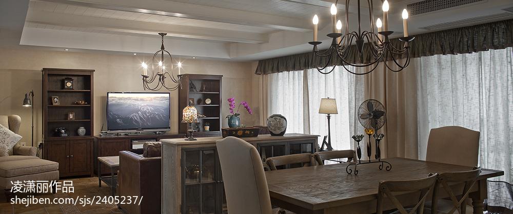 2018118平米美式别墅客厅装修实景图