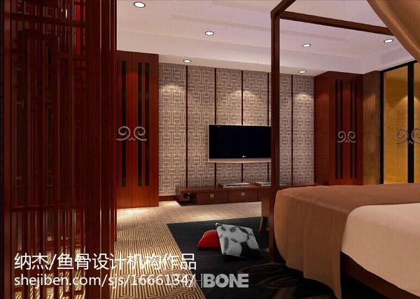 精致新中式卧室布置效果图