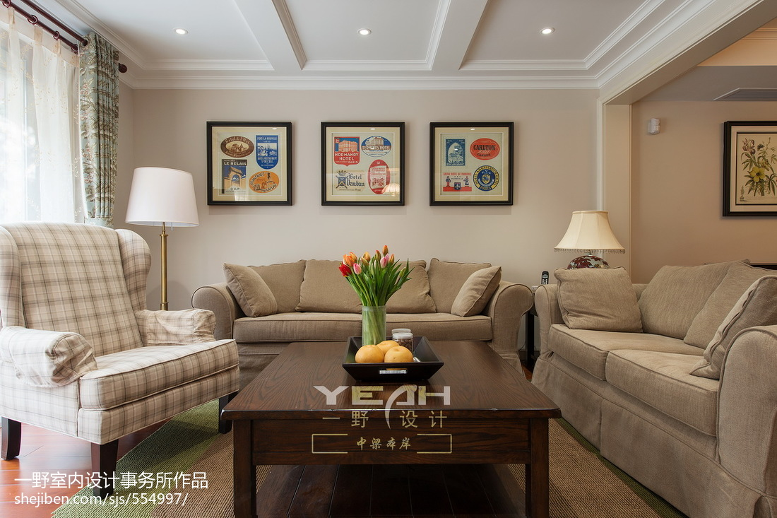 精美面积137平别墅客厅美式装修图片欣赏