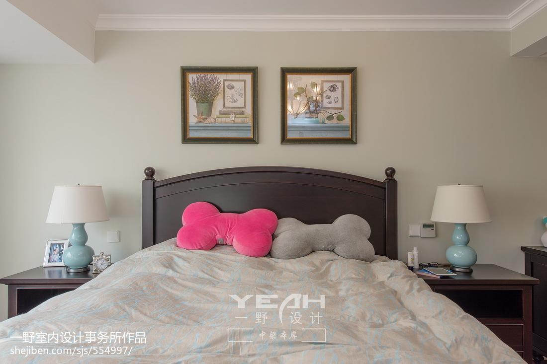 简约美式风格卧室背景墙装修效果图