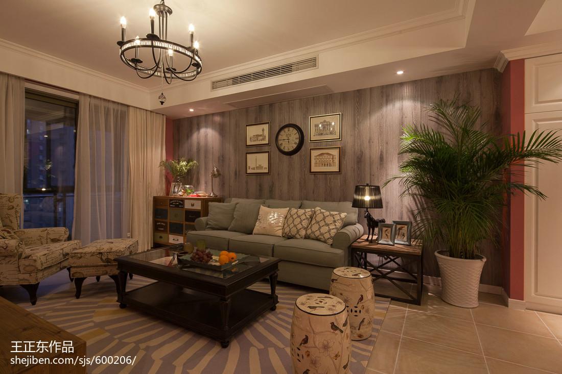 热门95平米三居客厅美式装饰图片大全