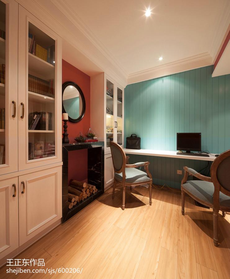 热门面积108平美式三居书房效果图片大全