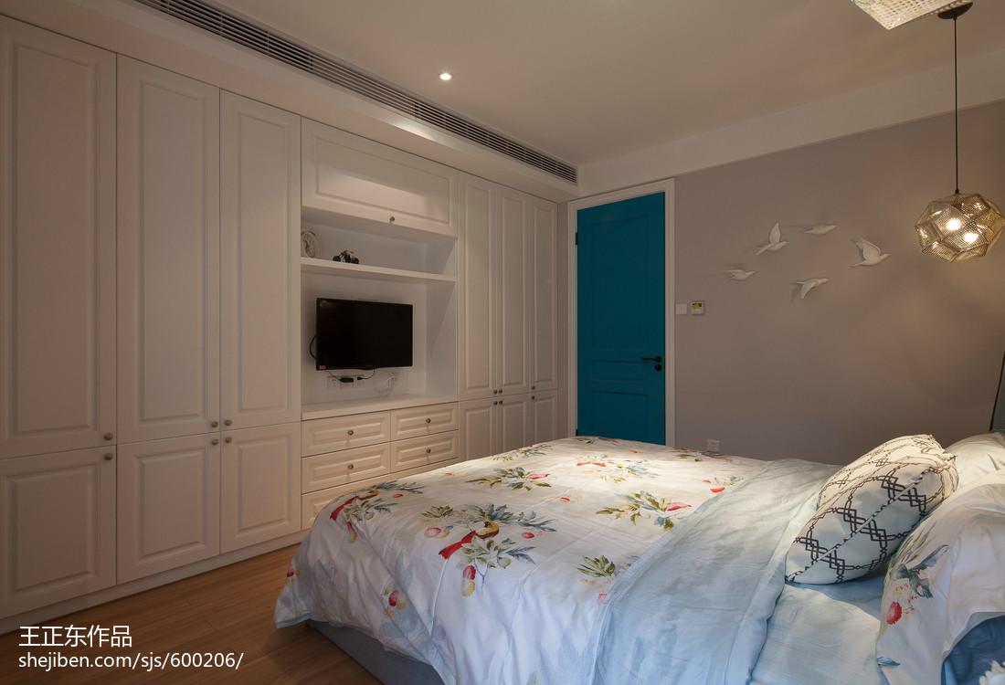 2018精选面积91平美式三居卧室装修实景图片大全