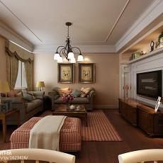 2018精选面积107平美式三居客厅装修效果图