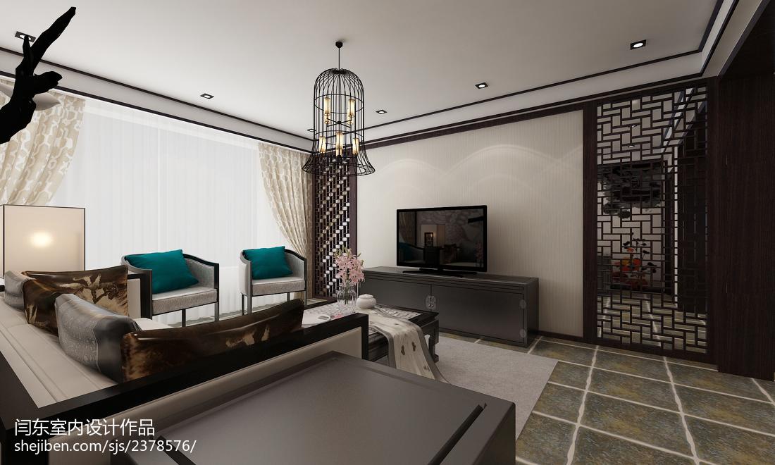 热门面积120平复式客厅中式装饰图片欣赏