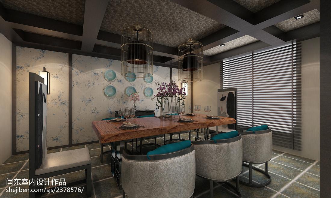 热门面积121平复式餐厅中式装修实景图片