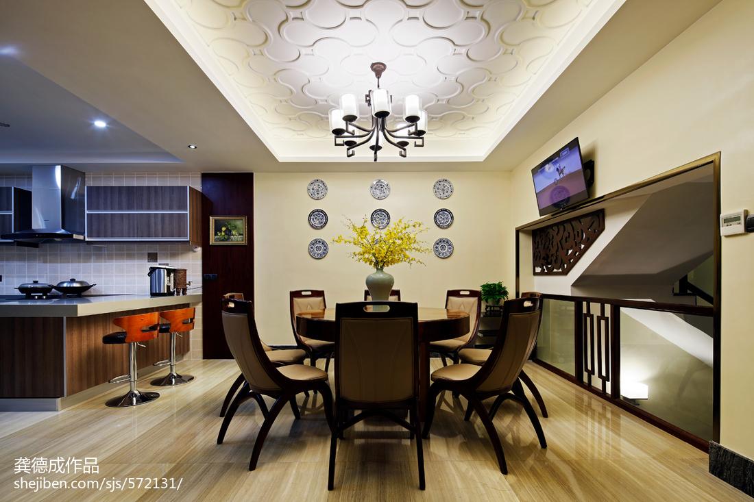 精选面积136平别墅餐厅中式装修设计效果图片大全