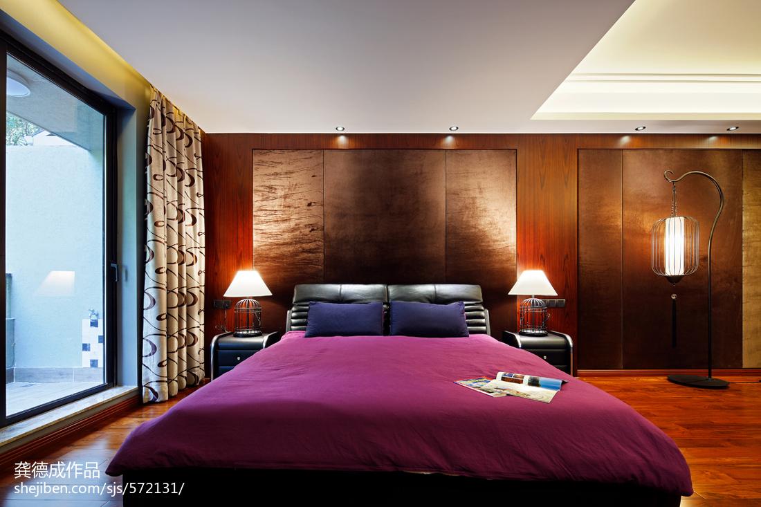 热门大小132平别墅卧室中式实景图片欣赏