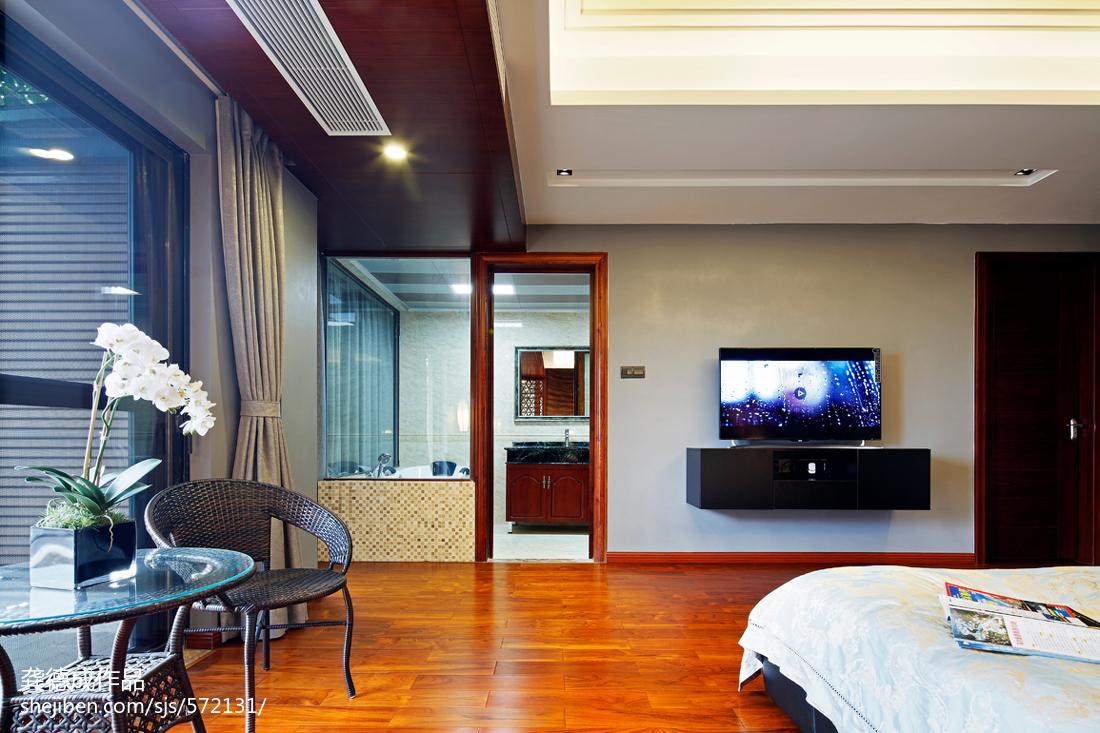 2018126平米中式别墅卧室装饰图片欣赏