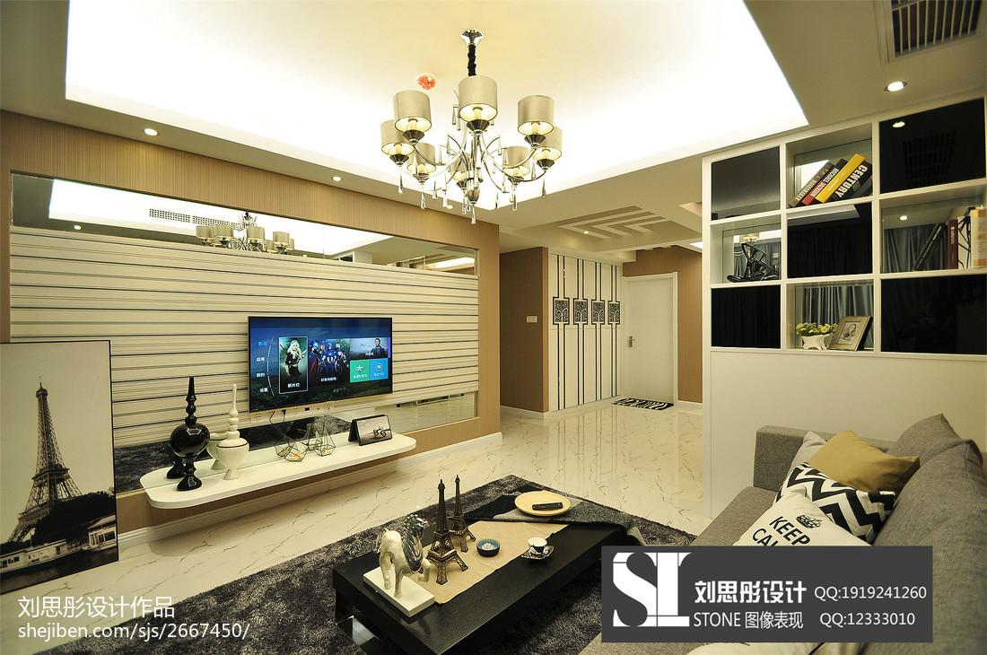 精选面积90平现代二居客厅实景图片