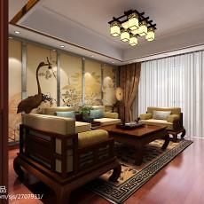 面积123平复式客厅中式实景图片