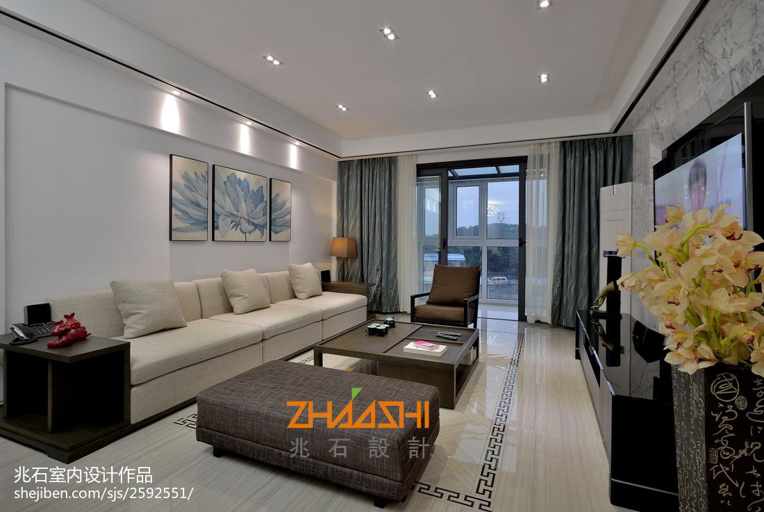 質樸85平中式三居客廳設計圖