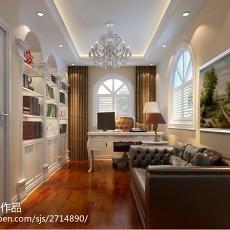 热门面积107平欧式三居书房装饰图片欣赏