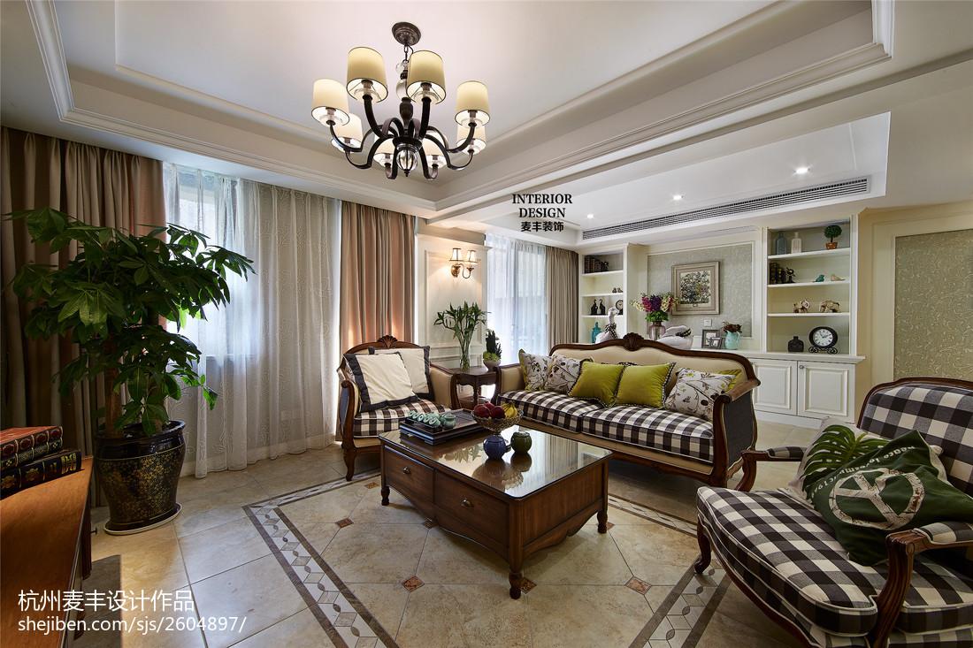 簡約美式客廳窗戶設計遮光布圖片