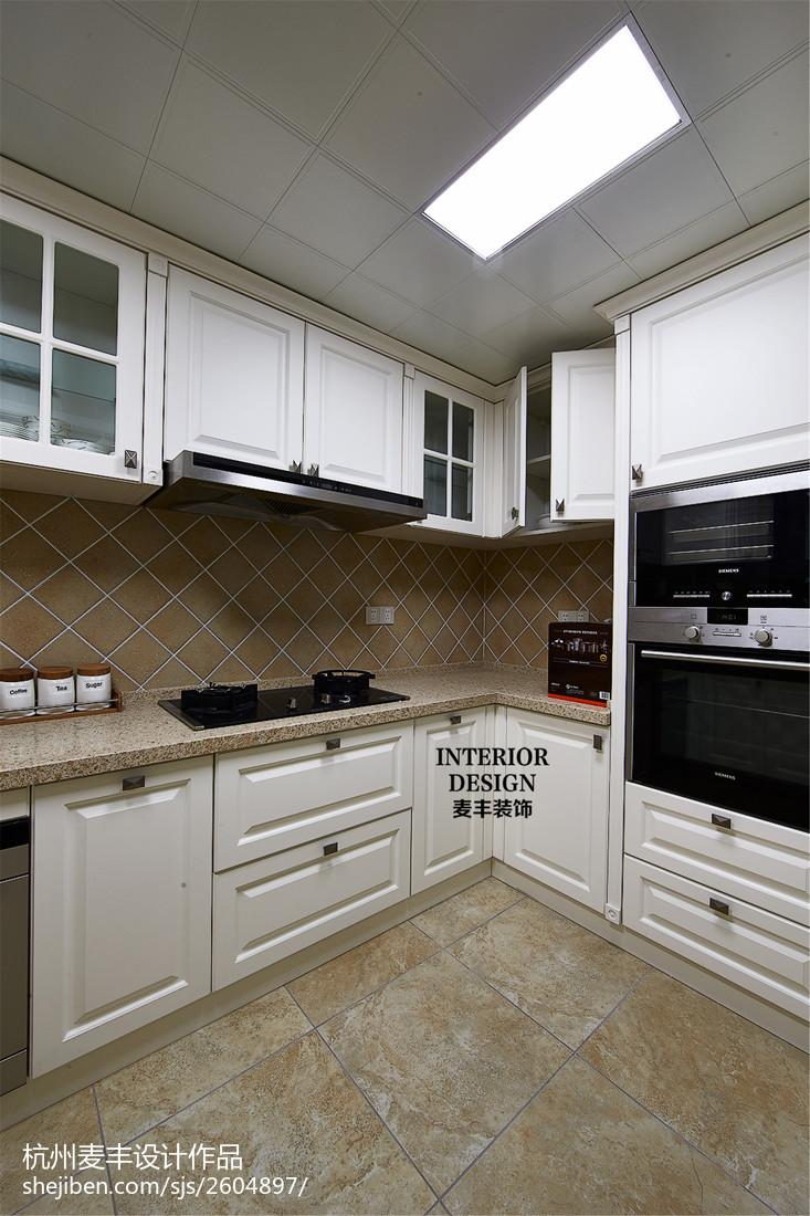 精美面积104平美式三居厨房装修效果图片