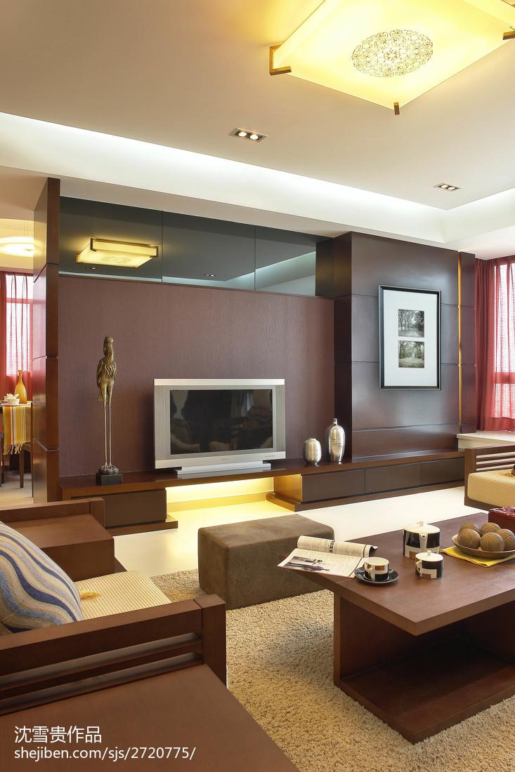 精美面积94平中式三居客厅装修设计效果图片欣赏