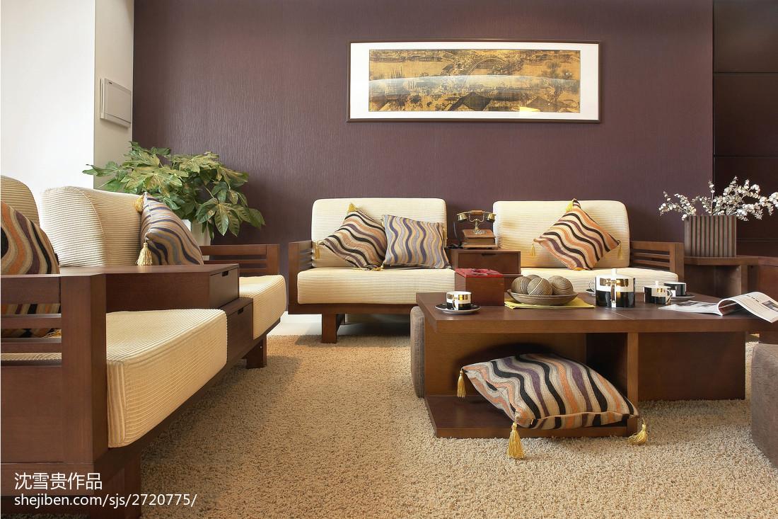 精美98平米三居客厅中式装修实景图片欣赏