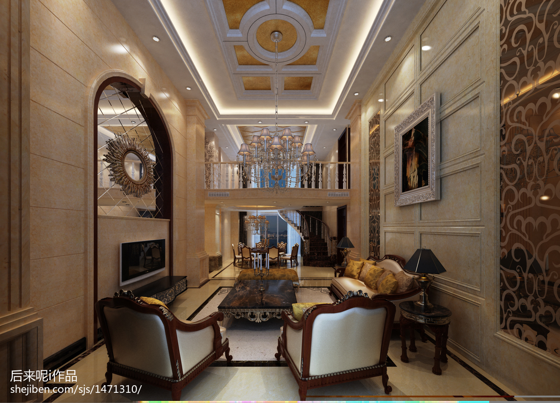 热门127平米欧式复式客厅装饰图片