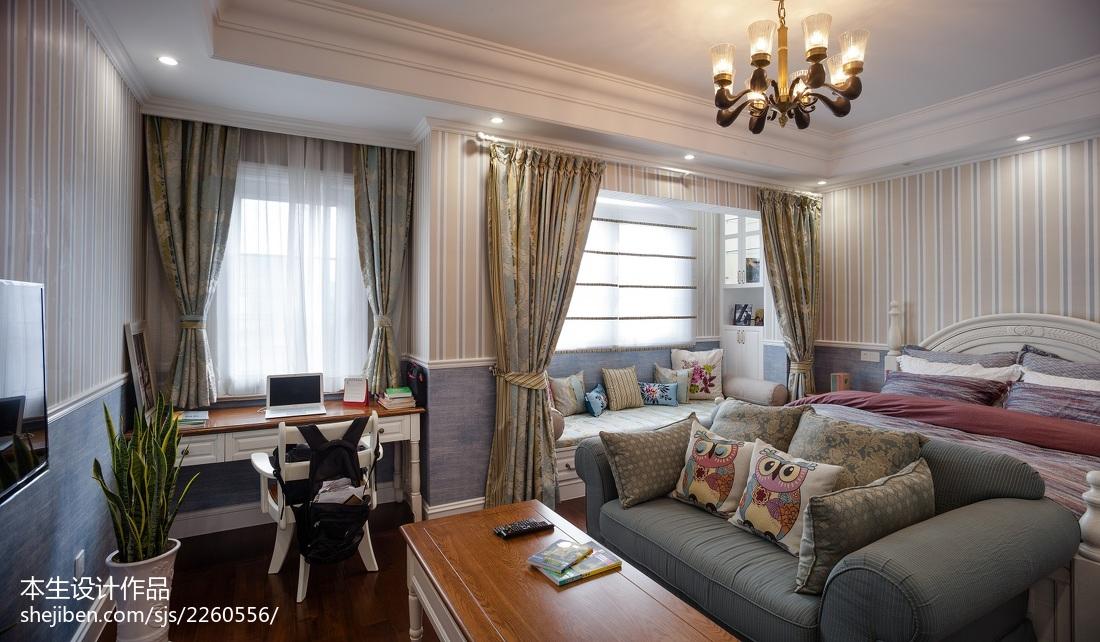 美式客廳飄窗裝修圖片