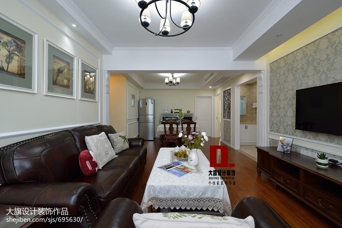 精美面积99平美式三居客厅装修实景图