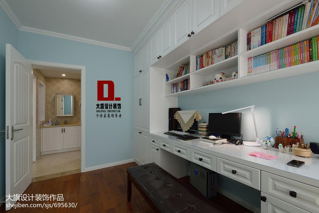 美式风格书房电脑桌装修设计