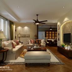 热门面积83平美式二居客厅装修效果图片