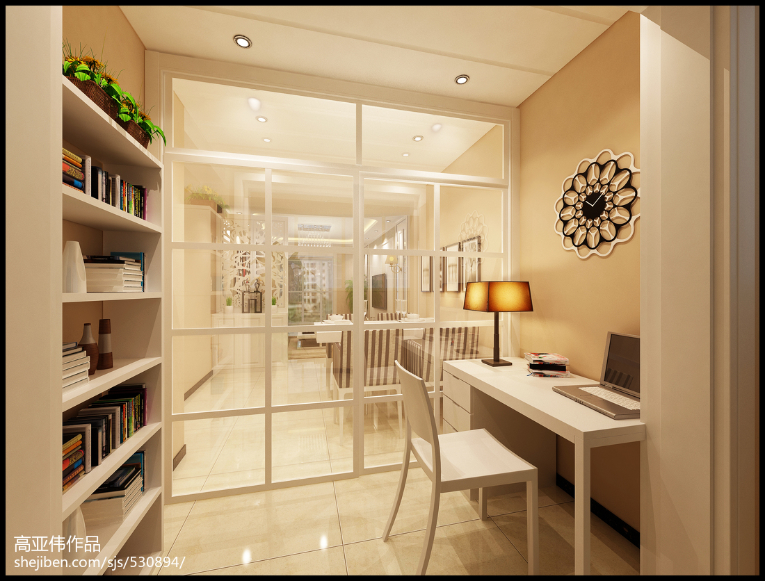 热门73平米二居书房现代装饰图片大全
