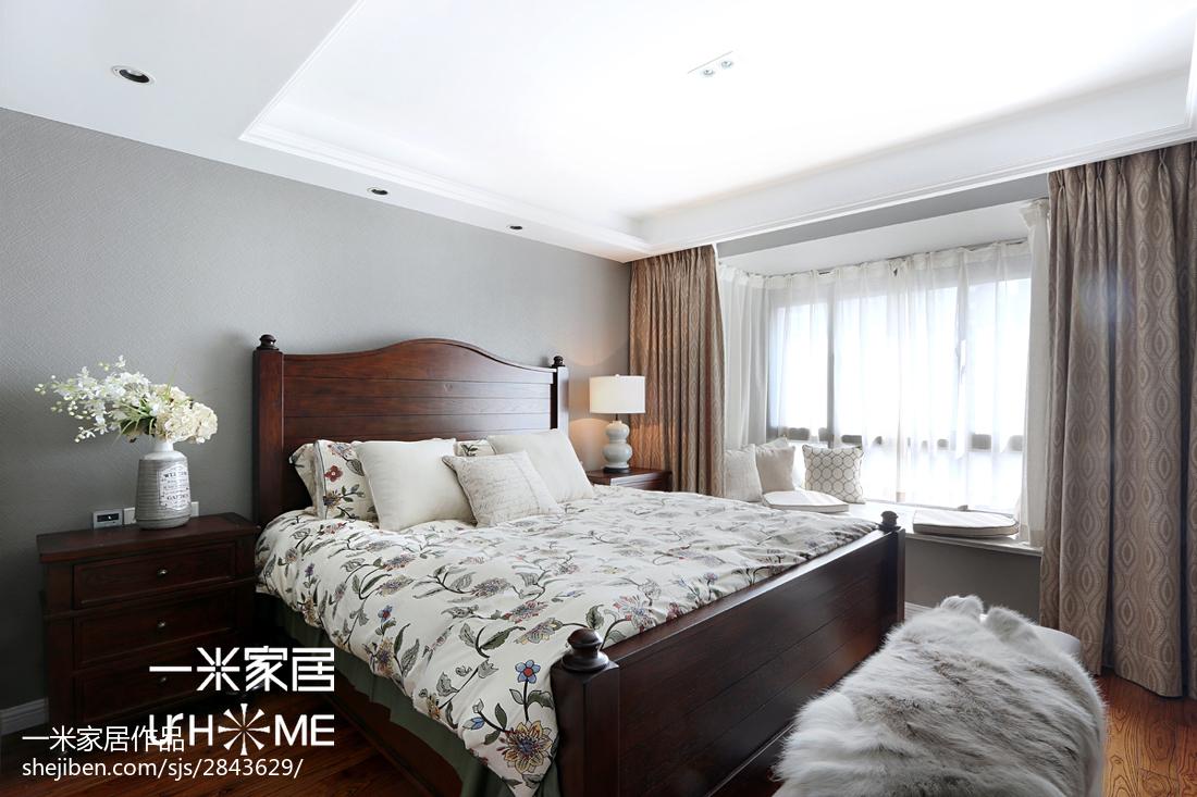2018面积102平美式三居卧室装修设计效果图片
