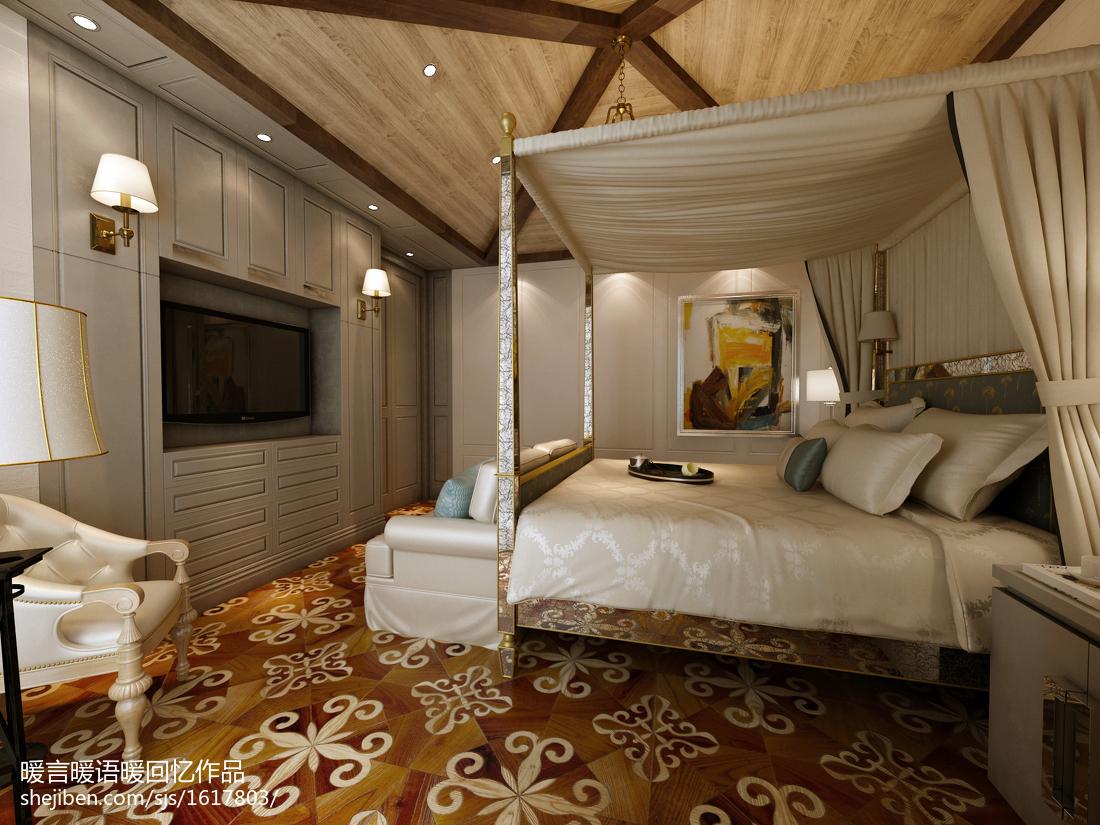 最热大小101平美式三居卧室欣赏图