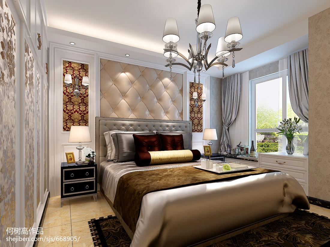 热门面积96平欧式三居卧室装饰图片