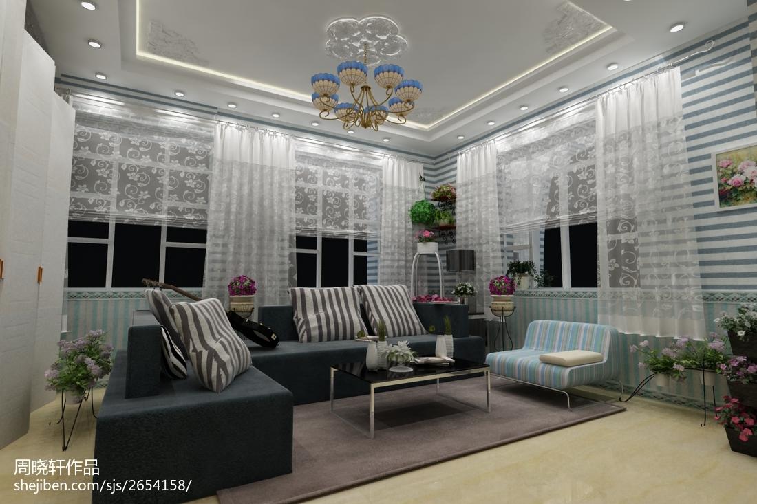 精美95平米三居客厅田园效果图片欣赏