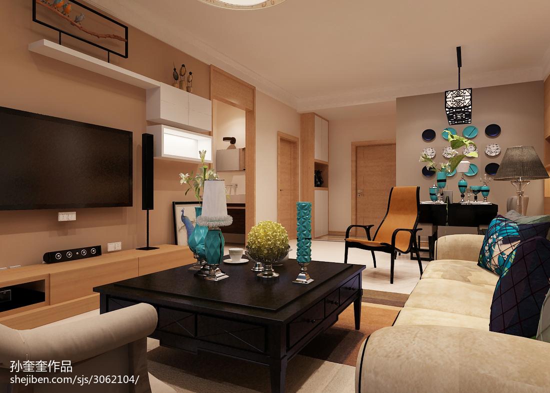 热门71平方二居客厅混搭装修效果图片