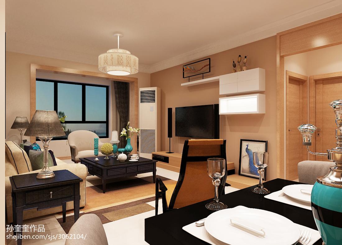 精美75平米二居客厅混搭装饰图