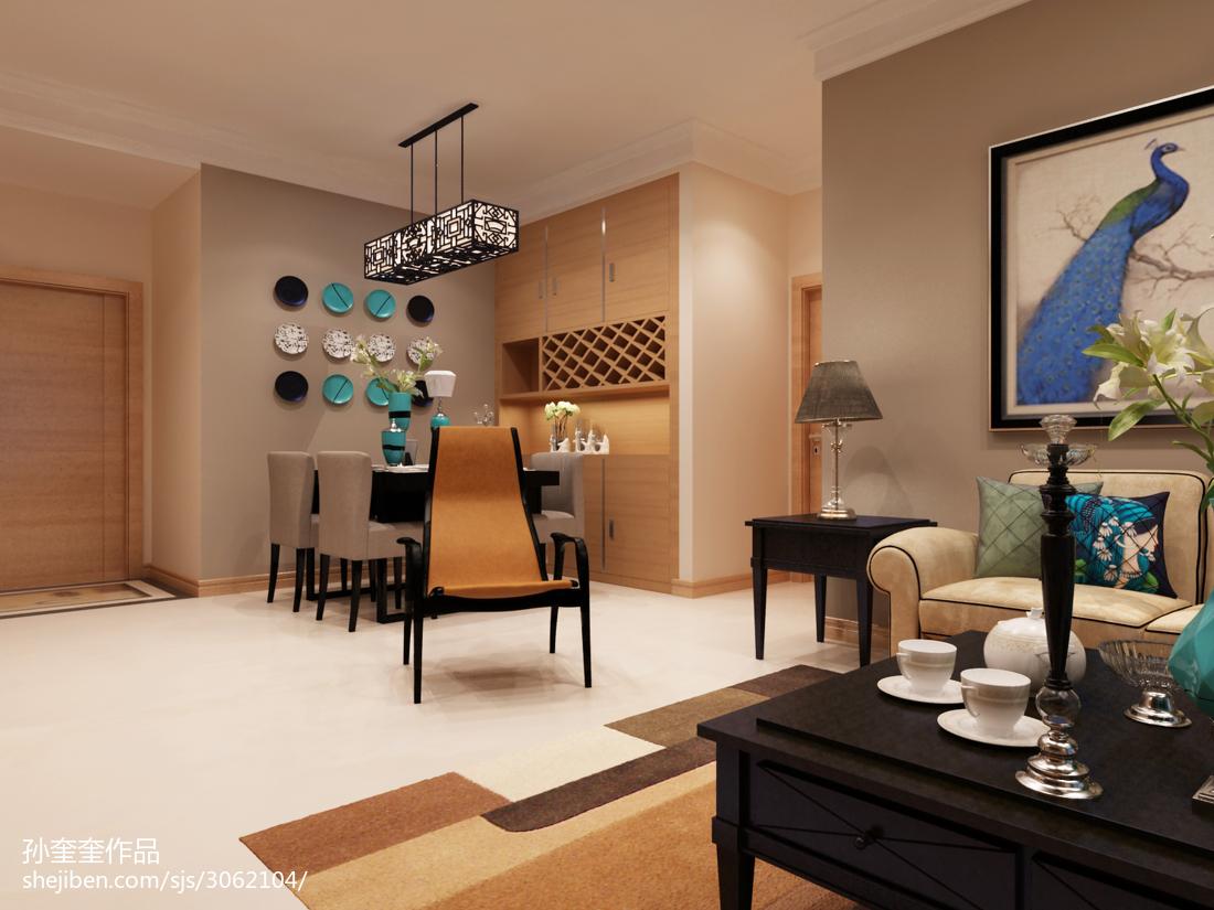 2018精选80平米二居餐厅混搭装修设计效果图