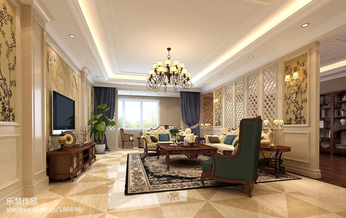 精选大小108平美式三居客厅装修设计效果图片欣赏