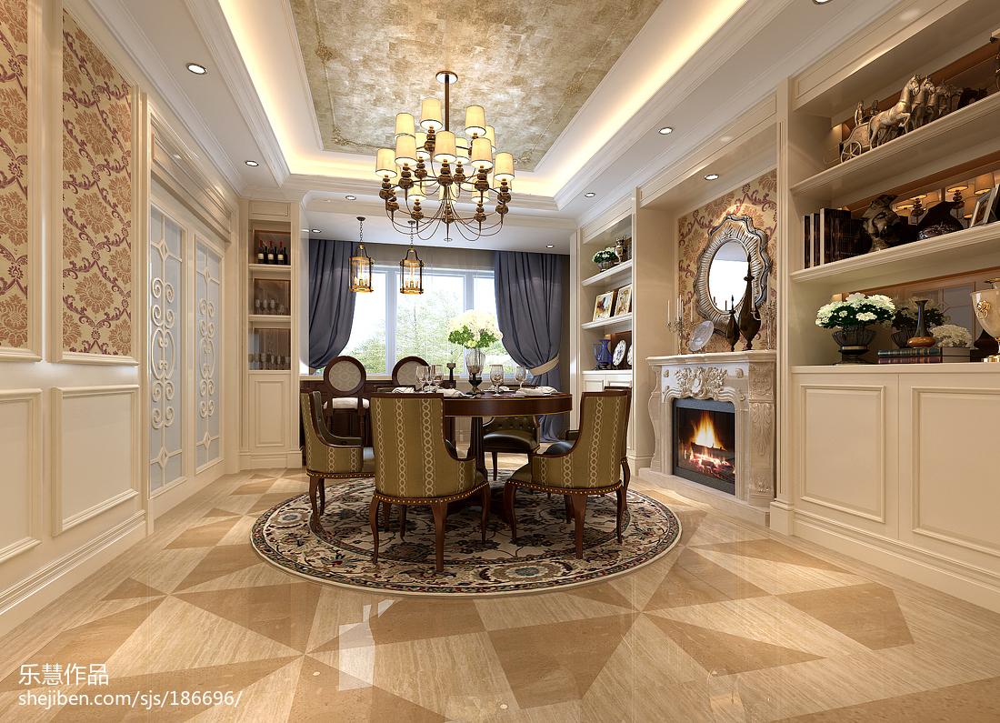 精选面积99平美式三居餐厅装修效果图片欣赏