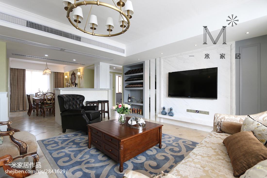 2018精选129平米四居客厅美式装修图片大全