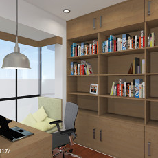 热门105平米三居书房现代装饰图片大全