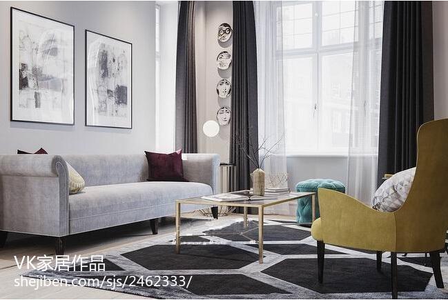 75平米欧式小户型客厅装修效果图片欣赏